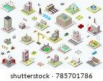 set of isometric city buildings.... | Shutterstock .eps vector #785701786