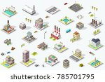set of isometric city buildings.... | Shutterstock .eps vector #785701795