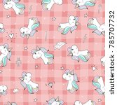 cute hand drawn unicorn vector... | Shutterstock .eps vector #785707732