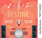 music festival poster with... | Shutterstock .eps vector #785714002