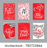 vector valentines day cards... | Shutterstock .eps vector #785723866