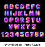 vector colorful curvy liquid 3d ... | Shutterstock .eps vector #785742235
