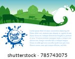 vector milk illustration with... | Shutterstock .eps vector #785743075