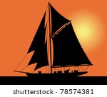 Black Silhouette Of A Yacht At...