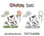 Cute Cartoon Cat And Flower...