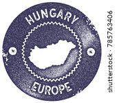 hungary map vintage deep purple ... | Shutterstock .eps vector #785763406