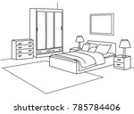 isolated bed and wardrobe... | Shutterstock .eps vector #785784406