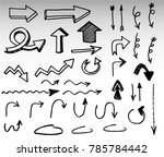 doodle vector arrows. isolated. ... | Shutterstock .eps vector #785784442