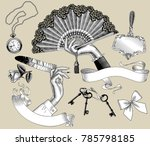 set of vintage engraving... | Shutterstock .eps vector #785798185