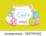 horizontal easter sale banner ... | Shutterstock .eps vector #785799202