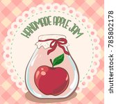 apple jam label. printable jar... | Shutterstock .eps vector #785802178