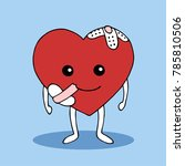 strong heart smile with hurt... | Shutterstock .eps vector #785810506