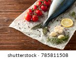 fresh tuna tail with tomatoes ... | Shutterstock . vector #785811508