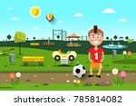 boy with football ball in city... | Shutterstock .eps vector #785814082