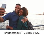 young black couple taking photo ... | Shutterstock . vector #785816422