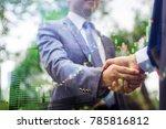 double exposure of shaking... | Shutterstock . vector #785816812