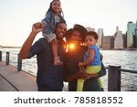 young family with daughters... | Shutterstock . vector #785818552