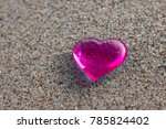 Glass Heart Pink On The Beach...