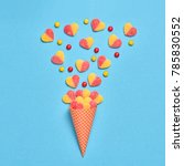 ice cream cone with gummy... | Shutterstock . vector #785830552