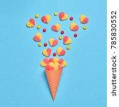 ice cream cone with gummy...   Shutterstock . vector #785830552
