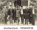 Small photo of Cemal Pasha and members of the Turkish Parliament in Jerusalem, 1916. He had military success in Iraq in 1915, but left Palestine after Turkish troops faltered in 1917