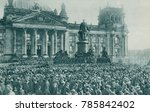 Small photo of Crowd at the Reichstag Building, Berlin, at the proclamation of new government Nov. 10, 1918. Kaiser Wilhelm II abdicated on the same day, in the aftermath of Germanys defeat in World War 1