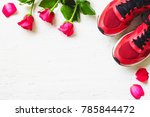 Red Sport Shoes  And Red Roses...