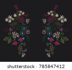 flowers embroidery patch print   Shutterstock .eps vector #785847412