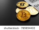 bitcoin golden coins and paper... | Shutterstock . vector #785854432