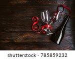 a festive dinner bottle of wine. | Shutterstock . vector #785859232