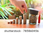 coins money saving setting on... | Shutterstock . vector #785860456