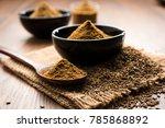 ground cumin seeds and jeera... | Shutterstock . vector #785868892