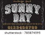 vintage font handcrafted vector ... | Shutterstock .eps vector #785874595