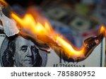 a hundred dollar bill in... | Shutterstock . vector #785880952