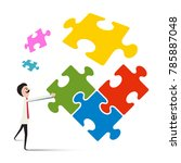 man with puzzle isolated on... | Shutterstock .eps vector #785887048