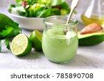 homemade avocado yogurt... | Shutterstock . vector #785890708