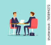 interviewing  job search. flat... | Shutterstock .eps vector #785894272