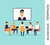 online business meeting. flat... | Shutterstock .eps vector #785894656