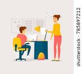 mom helps with homework. flat... | Shutterstock .eps vector #785897212