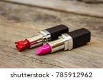 broken red and new pink... | Shutterstock . vector #785912962