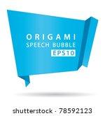 blue origami speech bubble.... | Shutterstock .eps vector #78592123