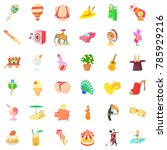funny carnival icons set.... | Shutterstock . vector #785929216