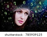 woman in numerology world | Shutterstock . vector #785939125