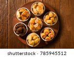mixed brazilian snack on the... | Shutterstock . vector #785945512