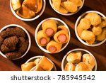mixed brazilian snack on the... | Shutterstock . vector #785945542