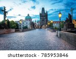 charles bridge  prague in dusk | Shutterstock . vector #785953846