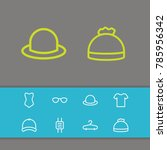 clothes icons set with cap ...