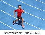 sprinter man running on blue...   Shutterstock . vector #785961688