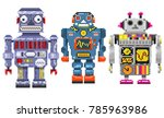 three pixel robots isolated on... | Shutterstock .eps vector #785963986