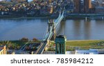 an aerial roebling bridge and... | Shutterstock . vector #785984212